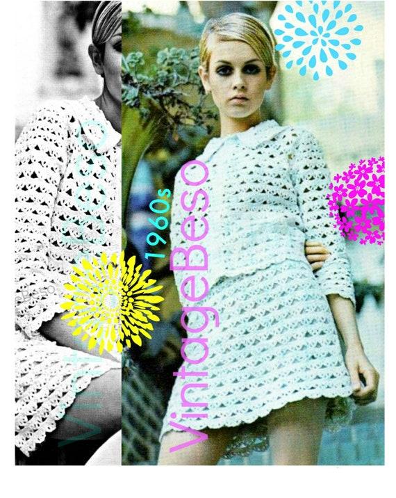 EASY Twiggy Crochet Pattern • Beginner • Vintage 1960s QUICK • Suit Crochet Pattern • Jacket Pattern • Skirt Ladies • Watermarked PDF Only