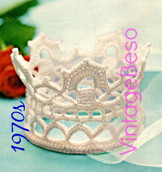 Crown Crochet Pattern • 1970s Vintage Bridal Tiara • wedding treasure keepsake • headdress headband • Watermarked PDF Only
