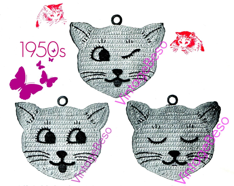Cat Crochet Potholder Instant Download Pdf Pattern Vintage