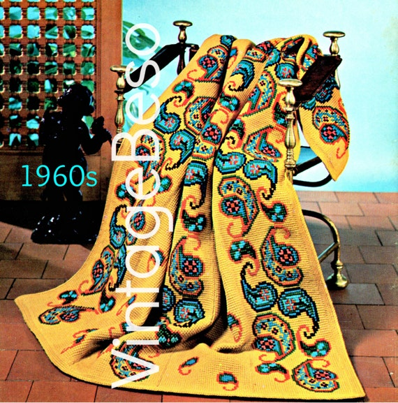 Instant Download Pdf Pattern 1960s Paisley Afghan Crochet Etsy