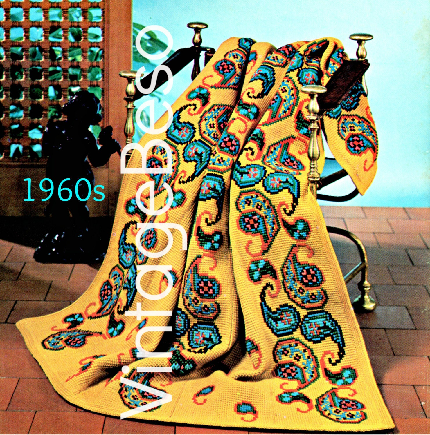 Instant Download Pdf Pattern 1960s Paisley Afghan Crochet