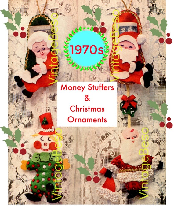 Money Stuffers Felt CRAFT Pattern • Vintage 1970s Christmas Ornaments Felt Sewing Pattern • INSTANT Download • PDF