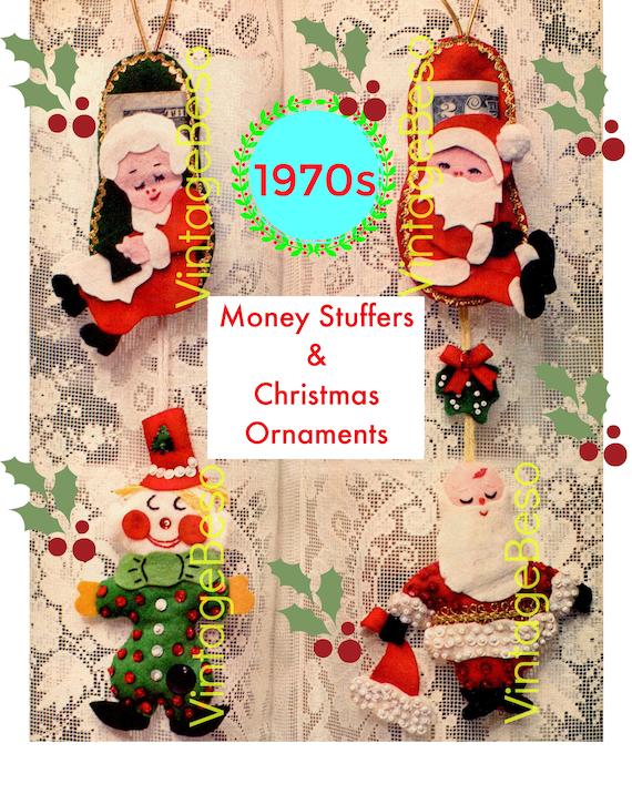 Money Stuffers Felt CRAFT Pattern • Vintage 1970s Christmas Ornaments Felt Sewing Pattern • INSTANT Download • PDF
