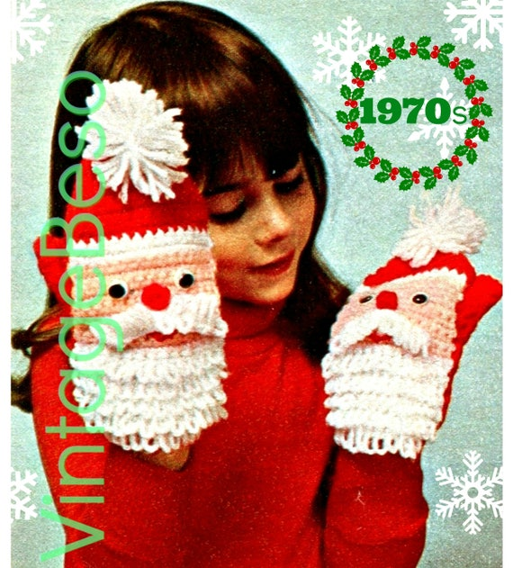 Santa Mittens CROCHET Pattern • 1970s Christmas Mittens • Puppets • Gloves of Santa Claus • Watermarked PDF Only