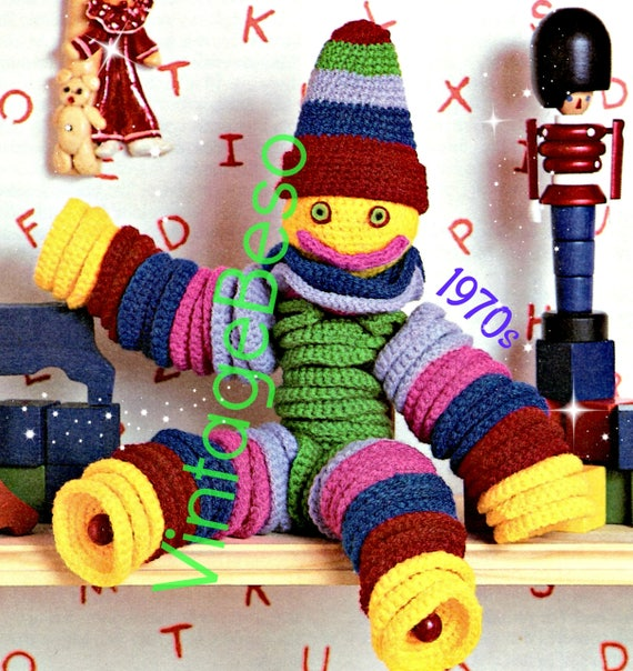 Circle Toy CROCHET Pattern • Vintage 1970s Soft Pal Crochet Pattern • Happy Clown Pattern • Dangle Toy • Watermarked PDF Only