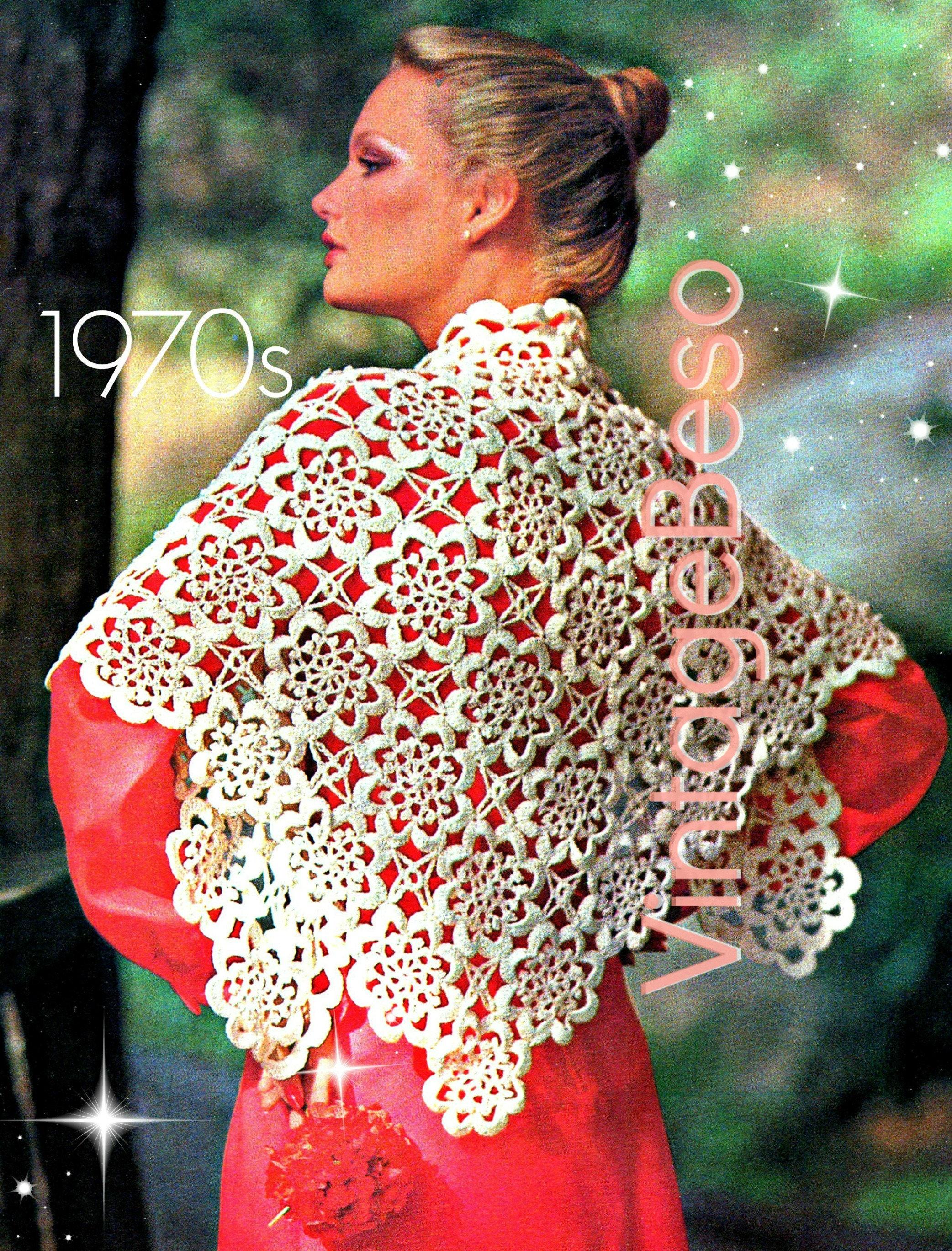 Shawl Crochet Pattern Vintage 70s Ladies Evening Shawl