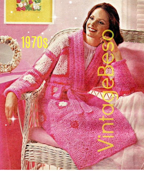 ROBE CROCHET Pattern •  1970s Ladies Granny Square Robe with Belt to wrap around Woman Great to lounge or after a shower • Watermarked PDF