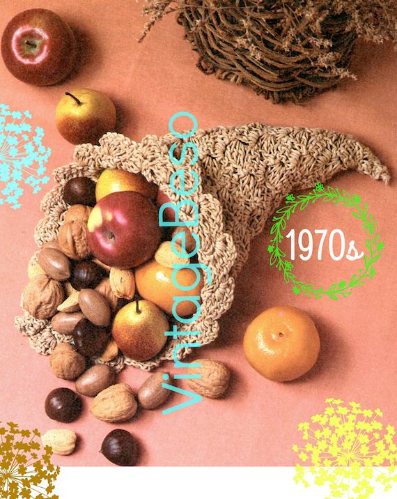 Cornucopia CROCHET Pattern • EASY to MAKE • Vintage 1970s • Digital Pattern • Retro Holiday Basket • Thanksgiving Centerpiece • PdF Pattern