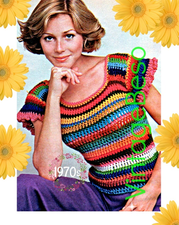 Top CROCHET Pattern • Vintage 70s Striped Shrink • Snug Super Cute Flared Little Sleeves Slightest Ruffle Sexy • Watermarked PDF Only