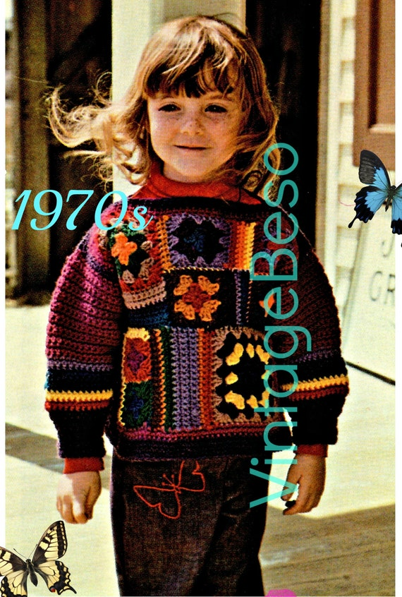 Child Sweater Crochet Pattern • 1970s Granny Square Patchwork Sweater • Easy • Retro • Boho • Hippie • VintageBeso • Watermarked PDF Only