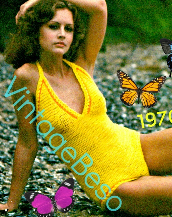 Bathing Suit Crochet Pattern • Sexy 1970s Swimsuit Maillot • Vintage One Piece • Leotard • Swimwear • VintageBeso • Watermarked PDF Only