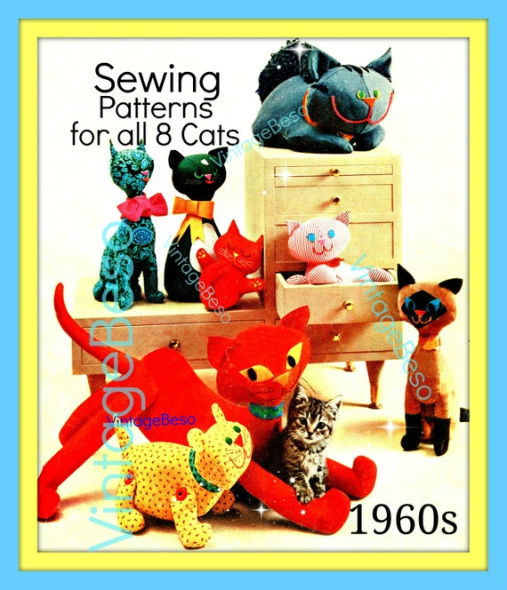 Digital Pattern • Vintage 1960s Sewing Pattern to make a Selection of EIGHT Peculiar Cats Stuffed Plush Soft Cloth Body Toys
