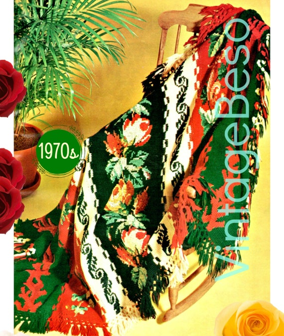 Roses Afghan Pattern • AFGHAN STITCH + Embroidery 1970s Afghan Pattern • Flowers Leaves Scrolls • Watermarked PDF Only