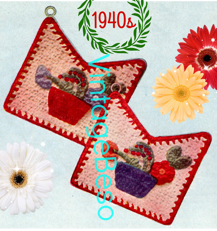 Flower Pot Potholder Crochet Pattern Pdf Pattern Vintage Etsy