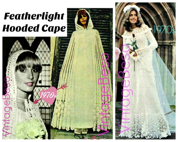 CLOAK Crochet Pattern • 1970s Vintage Hooded Cloak + FREE Pattern • Cape Pattern • Shawl • Cape • Bohemian Clothing • Watermarked PDF Only