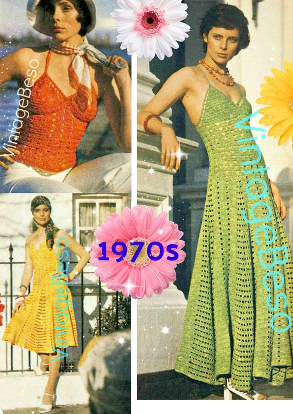 GROW a DRESS Crochet Pattern • Vintage 1970s Top • Sundress • Party Dress • Ladies Sleeveless Summer • Vintage Beso • Watermarked PDF Only