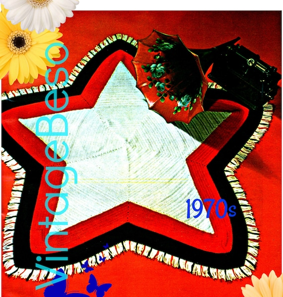 Star Afghan Crochet Pattern • SIMPLE STICHES • Vintage 1970s • Early Americana • American Flag Star • 4th of July • Watermarked PDF Only