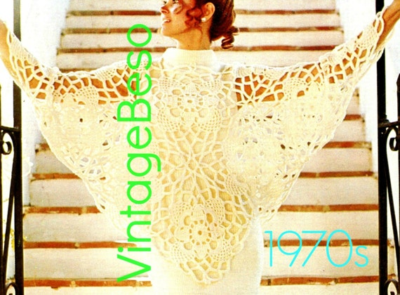 Lace Butterfly PONCHO • INSTANT Download • PDF Pattern • Crochet Pattern •Vintage 1970s Bedspread • Privacy Window Free Gift Digital
