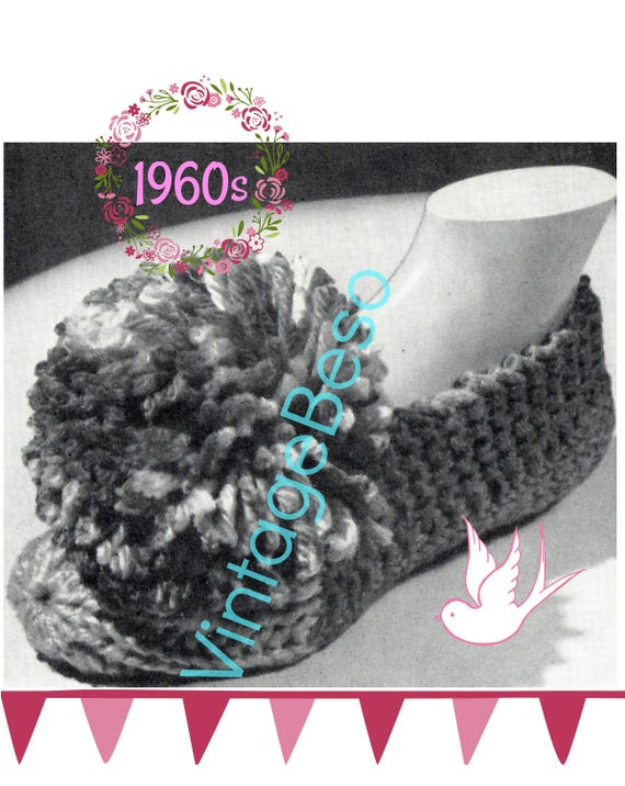 SLIPPERS Knitting Pattern • 1960s Vintage House Slippers Knitting Pattern • Giant Pom Pom TV House Shoes Pattern • Watermarked PDF Only