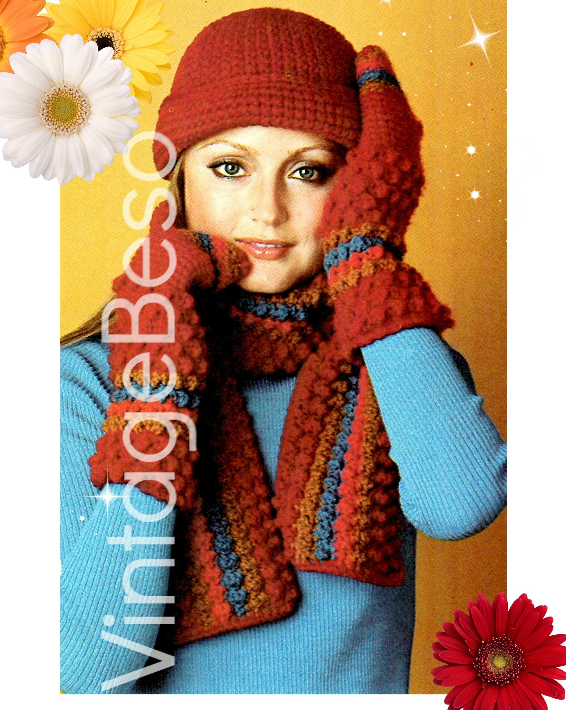Hat Crochet Pattern Vintage 1970s Gauntlets Crochet Pattern