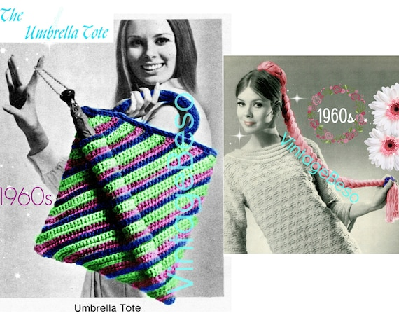 Umbrella Tote CROCHET Pattern • Retro 1960s Super Cool TOTE • Unique Pocket for Your Umbrella Brella • Striped Tote • Watermarked PDF Only