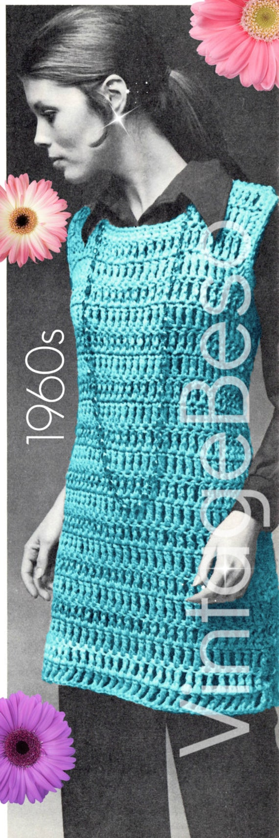 Top CROCHET Pattern • Retro 1960s Tank Dress CROCHET Pattern • Peekaboo Shirt Dress • Vintage Beso • Watermarked PDF Only