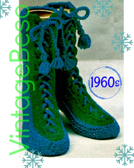 Slippers Knitting Pattern • Laced Slipper Socks with Tassels • 1960s Vintage • Woman's Slippers • DIGITAL Pattern • PdF Pattern • Retro