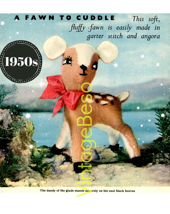 EASY Fawn KNITTING Pattern • Retro 1950s • Vintage Fluffy Fawn Toy Knitting • Deer • Holiday • Christmas • Dandy of the Glade • PDF
