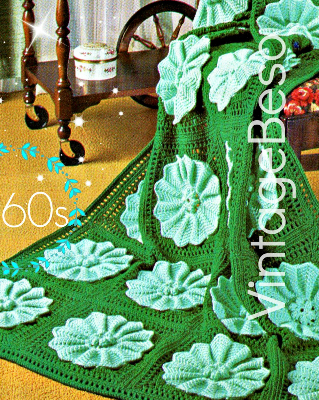 Water Lily Afghan Crochet Pattern Vintage 1960s Afghan Crochet
