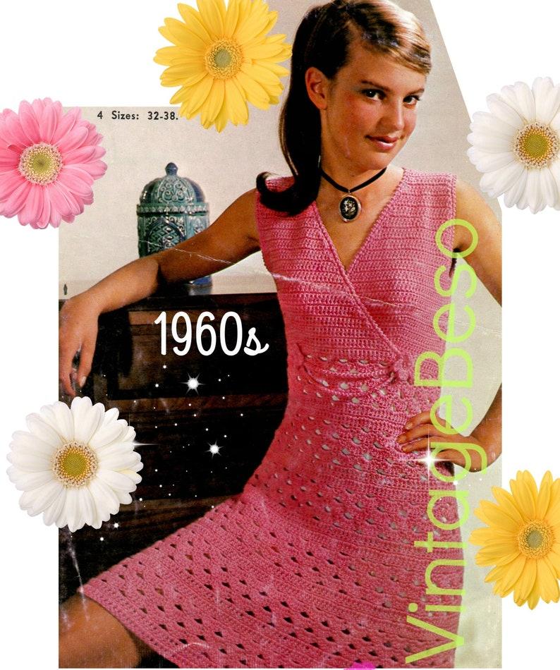 Dress Crochet Pattern Vintage 1960s \u2022 Teen Summer Wear w Lovely Cross-Over Bodice and Flower Trim \u2022 Sleeveless Sweet\u2022 Watermarked PDF Only