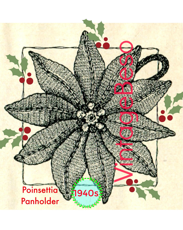 Poinsettia Potholder Crochet Pattern 1940s Classic Christmas Etsy