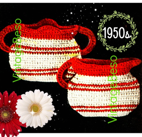 Retro Sugar 'n Cream Potholder Set • Sugar and Creamer Potholder CROCHET Pattern • PDF • Vintage 1950s • Digital • Kitchen • Quick Gift
