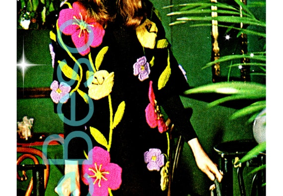 Retro 1970s COAT Pattern • Dramatic Flowers Floor Length Coat • Knitting + Crochet + Embroidery • Instant Download • PDF Pattern • DIGITAL