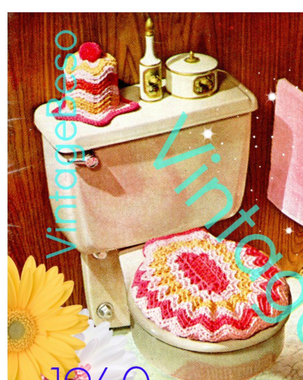 Rug Crochet Pattern Pdf Pattern Retro 1960s Bathroom