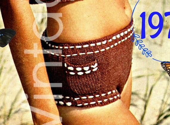Bikini Knitting Pattern • Vintage 1970s Boy Shorts Style • tankini + bikini bottoms Pattern • Swimsuit Beach Suit • Watermarked PDF Only