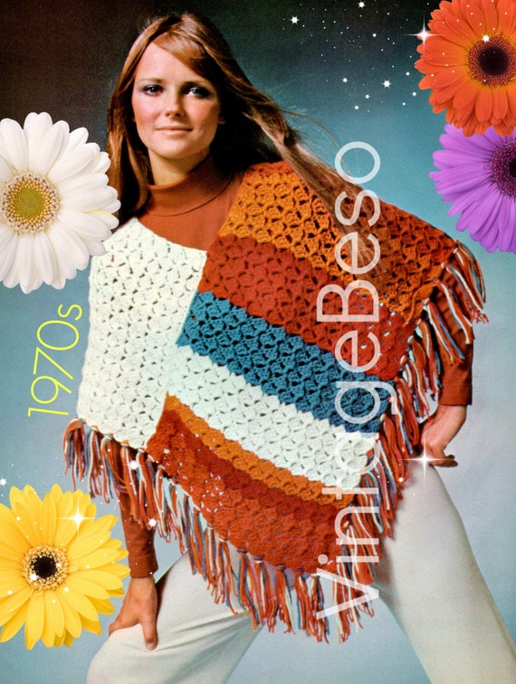 Easy Poncho Crochet Pattern • Retro 1970s Beginner Pattern • Fun Shell Stripe Shawl Crochet Pattern • Color Blocking • Watermarked PDF Only