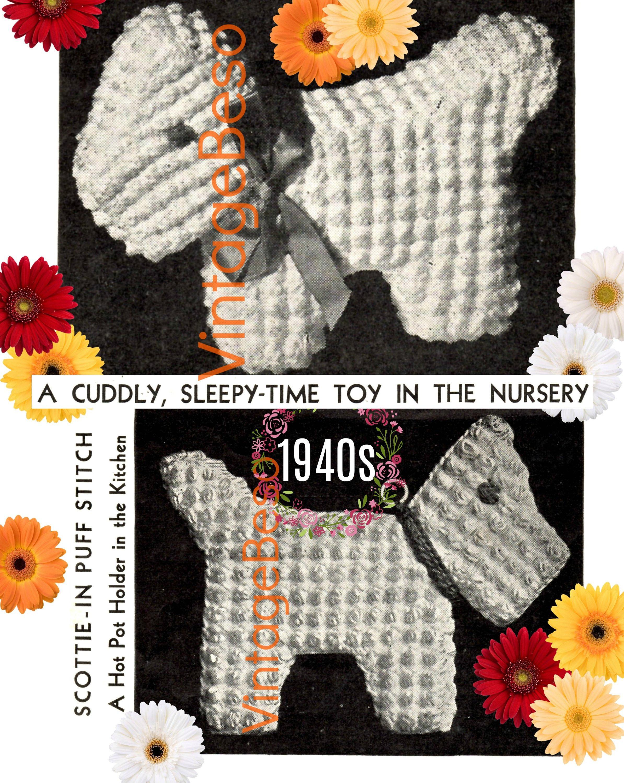 Scottish Dog Crochet Patterns Vintage 1940s Crochet Potholder Doll
