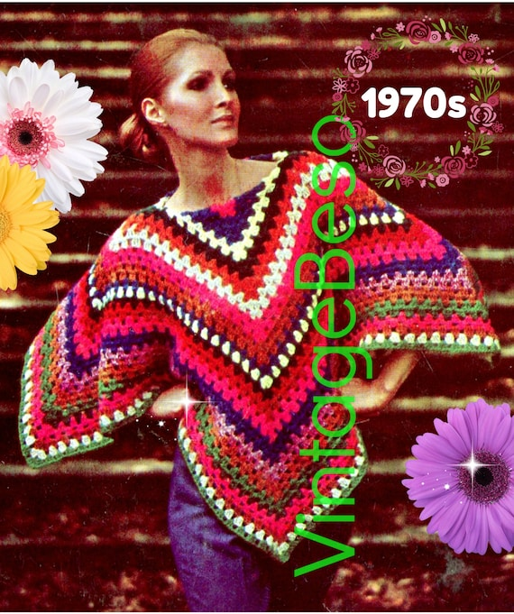 Poncho Crochet Pattern • Colorful • 1970s Vintage Granny Poncho • Popover • Striped • Fun • Fast • Watermarked PDF Only