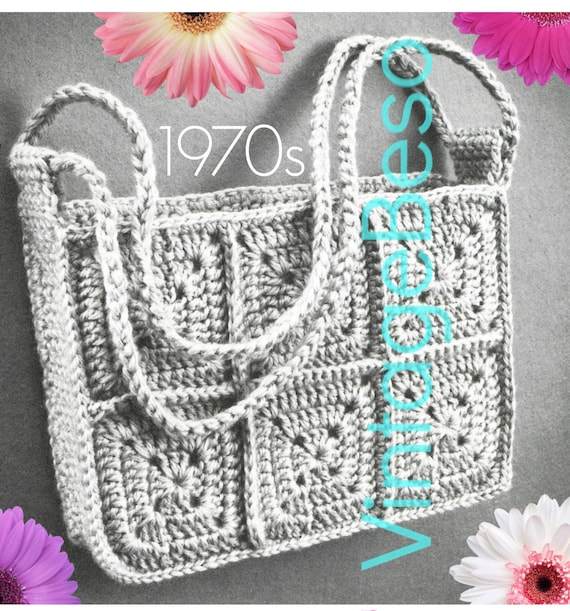 Tote CROCHET Pattern • Vintage 1970s Super Bag • Granny Square Crochet Pattern • Watermarked PDF Only