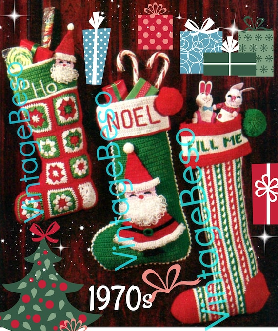 "Instant Download • 3 Patterns • 2 are ""Easy to Make CROCHET"" + 1 KNITTING Pattern • Santa Christmas Stocking • Vintage Granny Square • PDF"