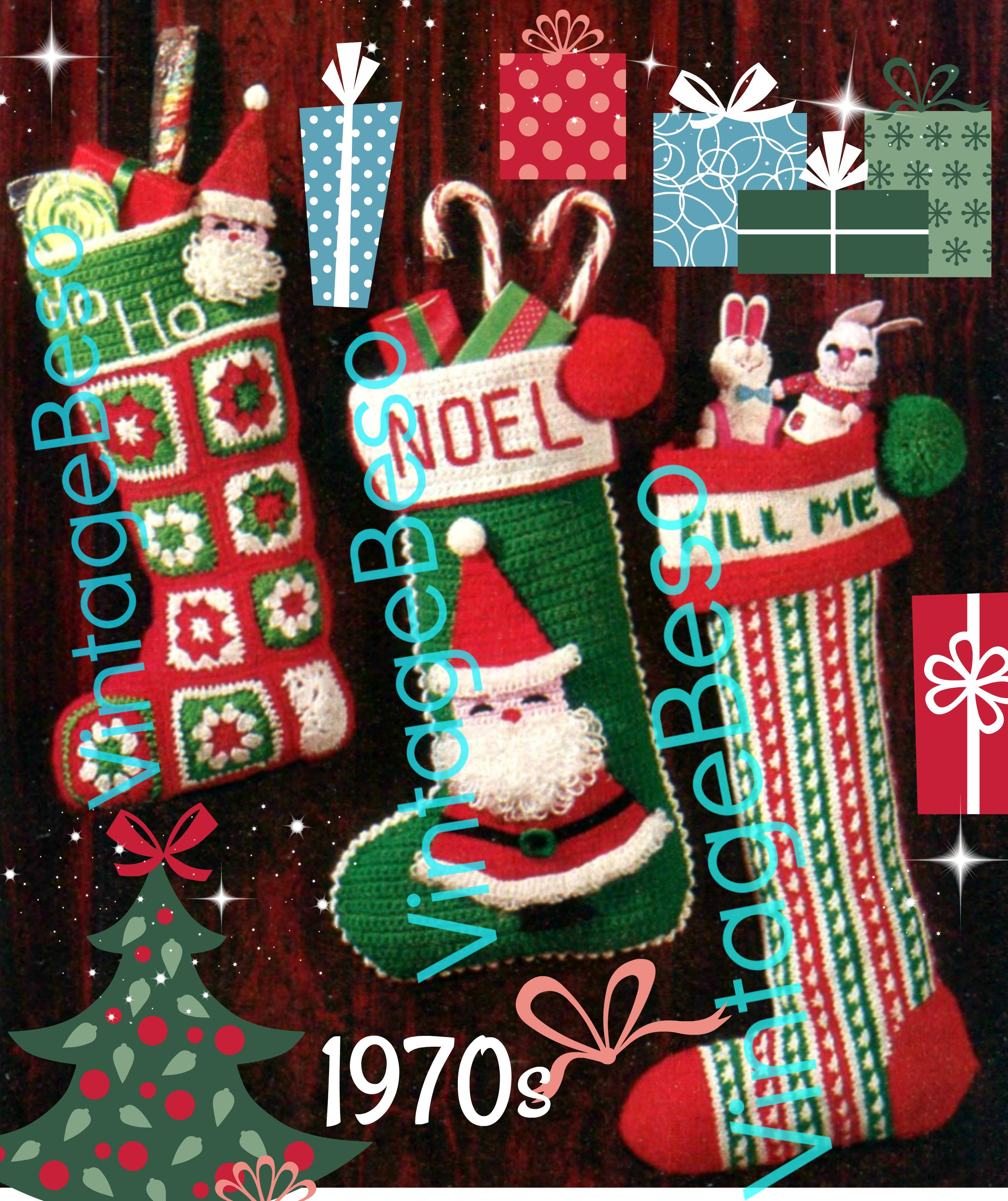 1970'S Christmas Stocking Crochet Pattern New Decorating