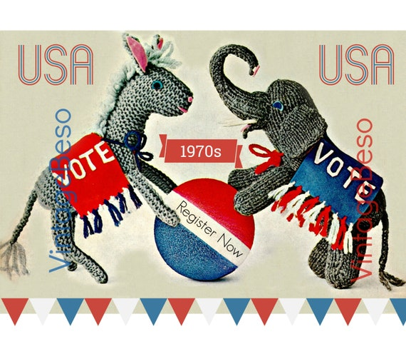Two Election Mascots • Super Easy Donkey + Elephant Knitting Patterns • DNC + RNC • Democratic and Republican • Watermarked PDF Only