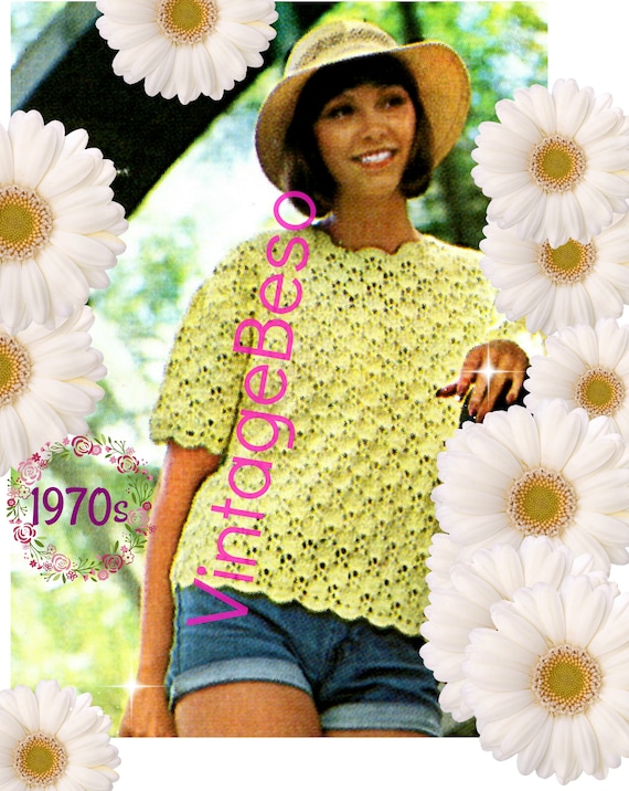 Summer Top Crochet Pattern • Top PATTERN • Ladies Shell Crochet Pattern • Short Sleeve • Pullover • Vintage 1970s Top • Watermarked PDF Only