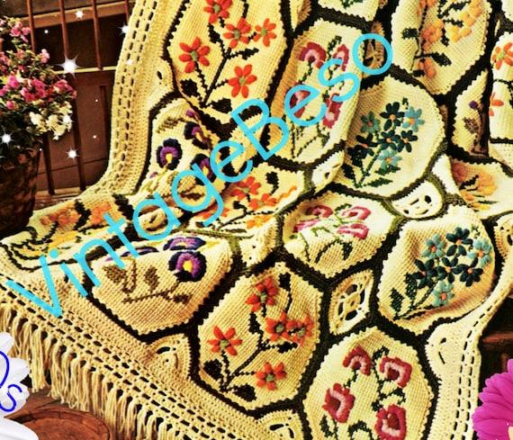 Afghan Crochet Pattern Vintage 1970s Country Garden Afghan Etsy