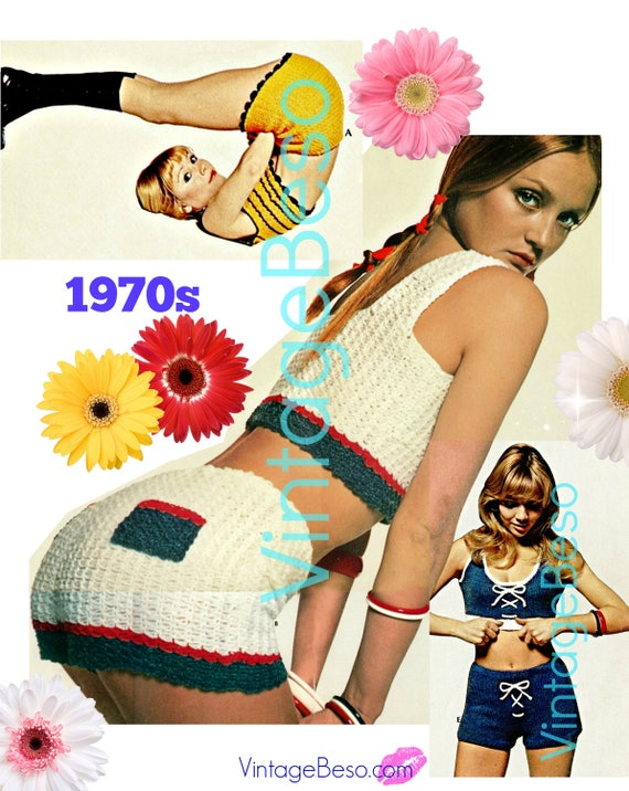 10 Crochet and Knitting PATTERNs • 1970s USA Pattern • Sexy Crop Tops • Sexy Hot Pants • Sexy Crochet Top • Watermarked PDF Only