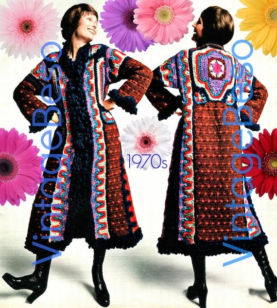 Boho Coat Crochet Pattern Vintage 1970s Crochet Pattern 100% Boho Rare Hard to Find Boho Pattern • Instant Download • Watermarked PDF Only