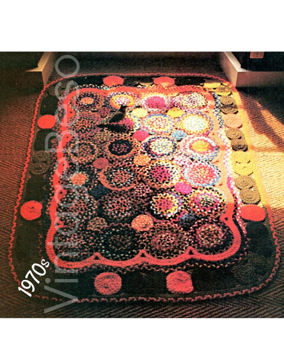 Circle Braided Rug Pattern 1970s CRAFT PATTERN for Rugmaking Chic Home Decor Bohemian Country Western Hippie Traditional
