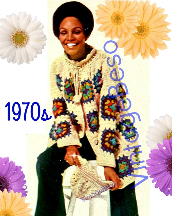 Jacket Crochet Pattern with Matching Hat • INSTANT DOWNlOAD • PdF Pattern • Vintage 1970s Boho Granny Square Coat • Festival Hippie Sweater