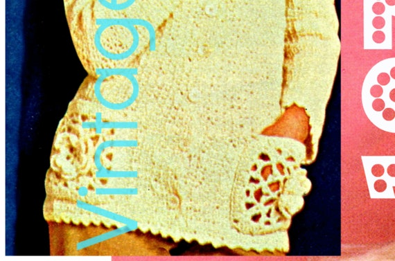 Jacket Crochet PATTERN Vintage • Gorgeous Rose Hooded Jacket • 1970s Crochet Pattern • Flower Crochet Pattern • Watermarked PDF Only