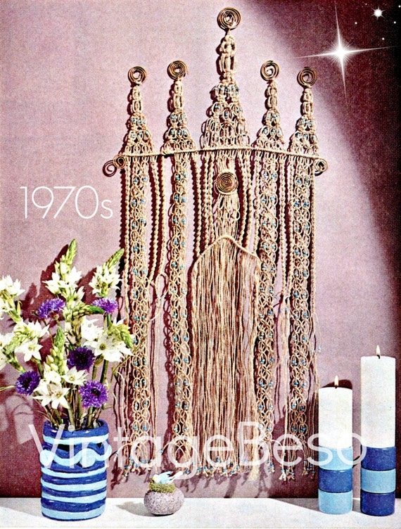 5 Patterns 1970s Cathedral Wall Hanging MACRAME PATTERN Hanging or Room Divider Curtain • Candle Holders • Macramé